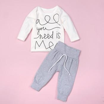 2-piece Letter Print Long Sleeves Top and Pants Set for Baby Boy