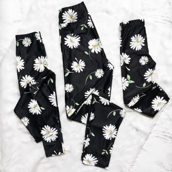 Mommy and Daughter Daisy Printed Matching Yoga Leggings