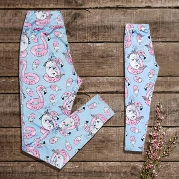 Mommy and Me Adorable Unicorn Matching Leggings in Light Blue