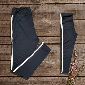 Mommy and Me Stylish Stripes Sport Leggings in Black