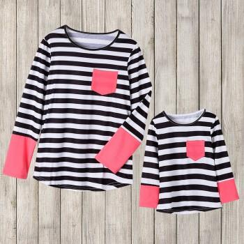 Mommy and Me stripe printed T-Shirts Long Sleeve T-shirt