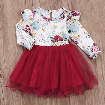 super lovely ruffle long sleeves floral tulle dress princess dress in red