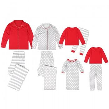 Red and Grey Long-sleeve Top and Pants Set Family Matching Pajamas Set