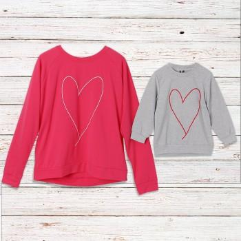 Mommy and Me Sweet Heart Embroidered Pullover
