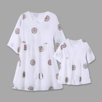 Embroidery Matching Dress for Mommy and Daughter