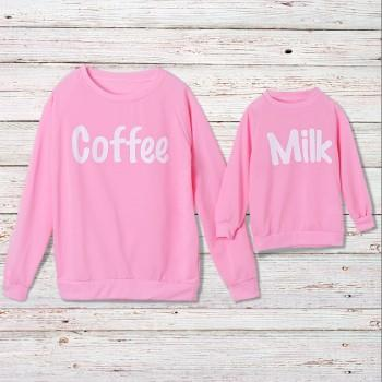 MILK and COFFEE Printed Matching Pullover in Pink