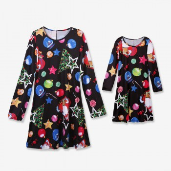 Christmas Long-sleeve Matching Dress for Mommy and Daughter