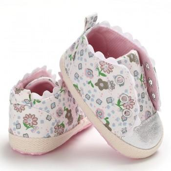 Newborn and Toddler Baby's Pretty Cotton Outsole Floral Slip-on Crib Shoes