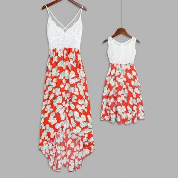 Mommy and Me Sleeveless Lace Stitching Floral Dress