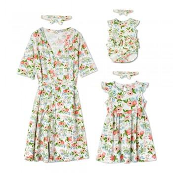 Pretty Floral Dress with Headband For Mommy and Me
