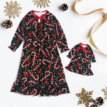 Jolly Candy Cane Dresses Girl and Doll