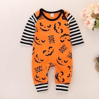 Happy Halloween Pumpkin Pattern Long-sleeve Jumpsuit
