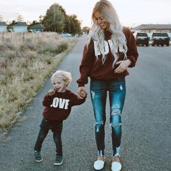 Family LOVE Printed Pullover in Crimson