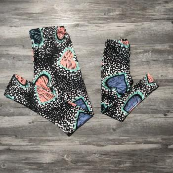 Beatiful Heat Printed Matching Leggings for Mommy and Me