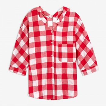 Women's Plaid Maternity Blouse in Red