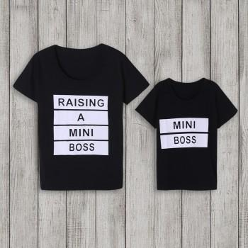 """Mommy and Me """"BOSS"""" Print Matching Short-Sleeve in Black"""
