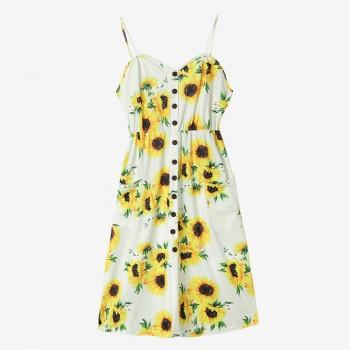 Sunflower Printing Condole Belt Maternity Dress
