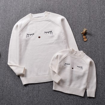 Mommy and Me Lovely Eyes Embroidered Sweater in White