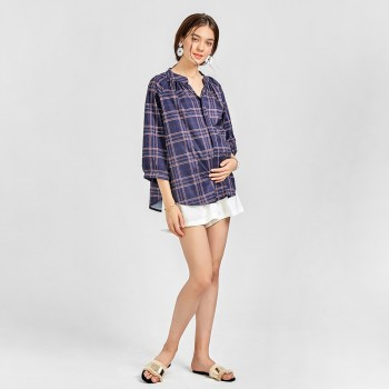 Women's Maternity Checked Blouse in Blue