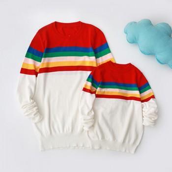 Trendy Family Rainbow Stripes Sweater