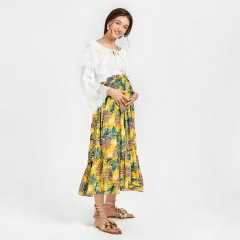 Women's Maternity Floral Ruffle Long Skirt