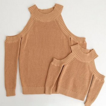 Mommy and Me Stylish Off-shoulder Sweaters in Brown