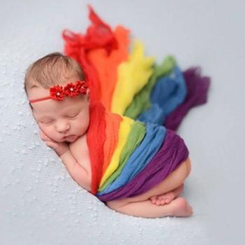 1 Pcs Newborn Baby Elastic Rainbow Photography Prop Wrap