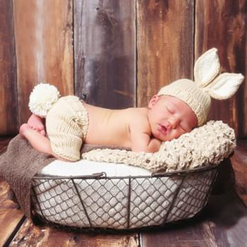 Newborn Baby's Cute Knitted Bunny Hat and Pants Photography Prop Set