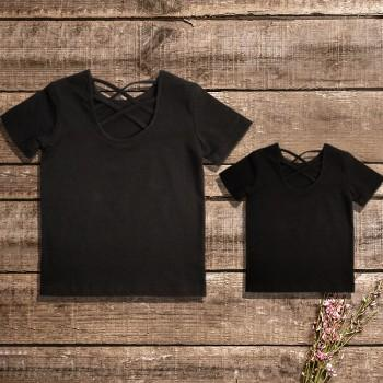 Mommy and Me Solid Lace-up Short-sleeve Tee in Black