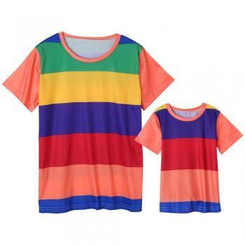Family Stylish Rainbow Stripes Short-sleeves Tee