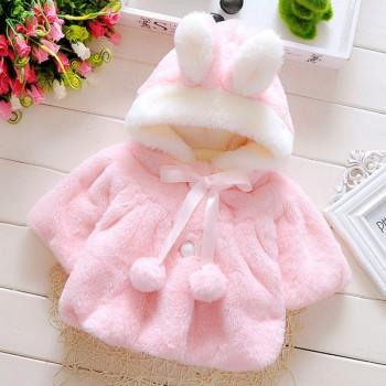 Super Cute Plush Bunny Ears Design Hooded Coat for Baby Girl