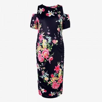 Pretty Open Shoulder Floral Maternity Dress