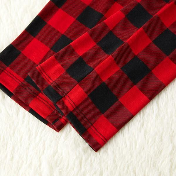 Trendy Gold Deer Black and Red Plaid Matching Pajamas