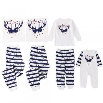 Cute Deer Print Striped Christmas Pajamas Family Matching