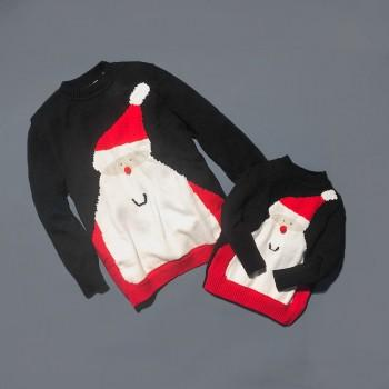 Family Christmas Santa Matching Sweater in Black