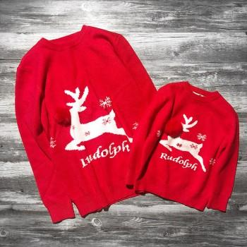 Mommy and Me Christmas Reindeer Pom-pom Sweater in Red