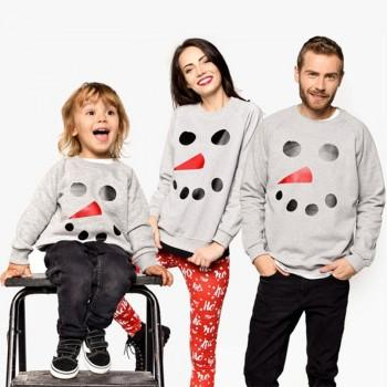 Family Cute Snowman Printed Pullover in Grey
