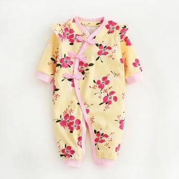 Stylish Flower Print Long Sleeves Cheongsam Jumpsuit for Baby Girls
