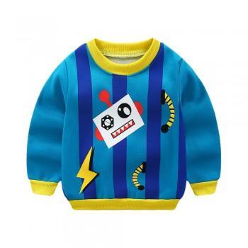 Lovely Robot Print Fleece Lining Pullover for Toddler Boy
