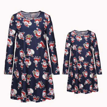 christmas long sleeve blue matching dress