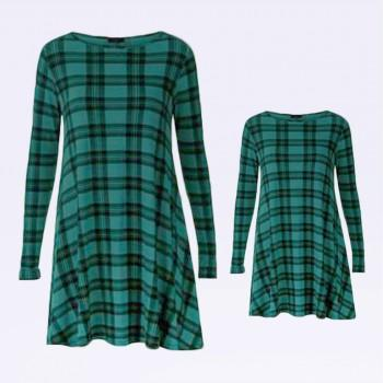 Fashionable Green Grid Long Sleeve Matching Dress