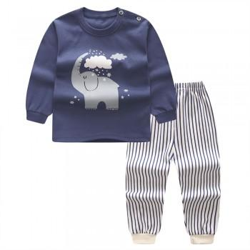 2-piece Cute Elephant Print Top and Striped Pants Set for Toddler Boy