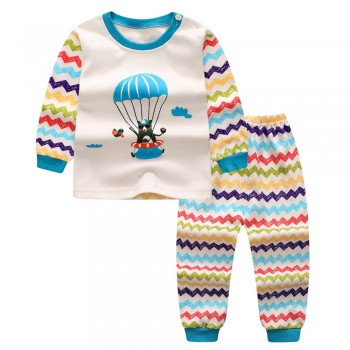 2-piece Hot Air Balloon Bear Top and Wave Striped Pants Set for Toddler Boy