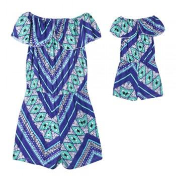 Comfortable Off Shoulder Bohemia Printed Mommy and Me Playsuit