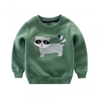 Comfy Raccoon Print Fleece Lining Autumn Pullover for Toddler and Kid