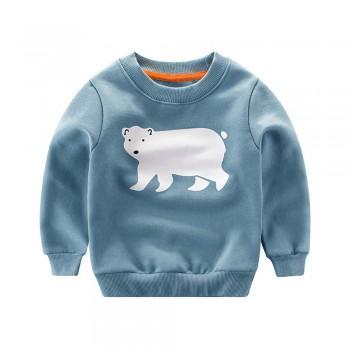 Comfy Polar Bear Print Fleece Lining Autumn Pullover for Toddler and Kid