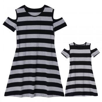Grey Off-shoulder Matching Dress