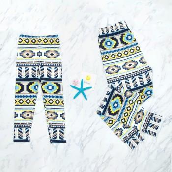 Mommy and Me Boho Printed Matching Leggings in Light Yellow