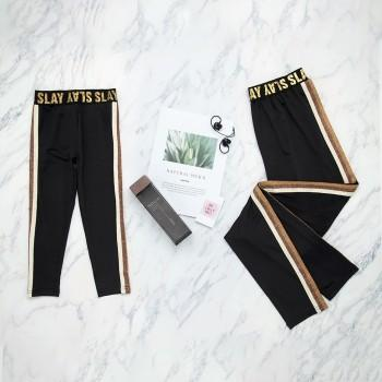 Mommy and Me Stylish Letter Sport Leggings in Black