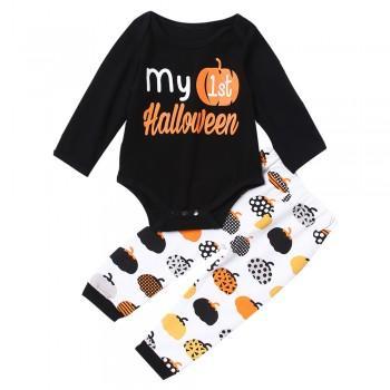 Cute Halloween Pumpkin Print Long-sleeve Jumpsuit For Baby